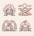 set vintage bakery labels design elements vector image