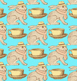 Sketch hare and cup in vintage style vector image vector image