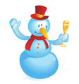 snowman with wineglass vector image