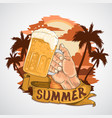 summer beer party element with beach view vector image