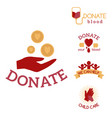 volunteer red icons charity donation set vector image