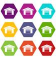 warehouse icon set color hexahedron vector image vector image