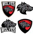 wolves sport team logo template mascot vector image