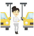 worker controlling automated assembly line for car vector image vector image
