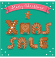 Xmas sale Merry Christmas Gingerbreads font vector image