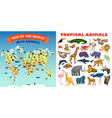 zoo animals banner set cartoon style vector image