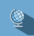 globe icon with shade on blue background vector image