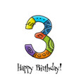 3th anniversary celebration greeting card vector image
