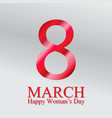 8 march greeting card white background vector image