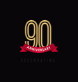 90 year anniversary luxury gold black logo vector image vector image