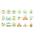 amusement park elements set vector image