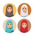 beautiful muslim woman icons set female portrait vector image vector image