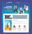 business landing project management web page vector image vector image