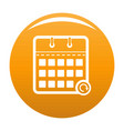 calendar mobile icon orange vector image vector image