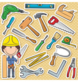 Carpenter with tools vector image vector image