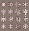 collection of snowflakes with shadow set of pink vector image