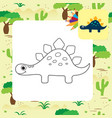 cute cartoon dino coloring page vector image vector image
