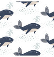 cute whale seamless pattern cartoon style vector image