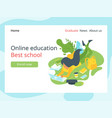 elearning landing page template vector image