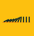 falling black dominoes on yellow background vector image vector image