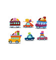 flat set of colorful cars buses and vans vector image vector image
