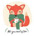fox and tea vector image