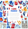 france travel icons circle postcard with famous vector image vector image