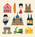french landmarks in cartoon vector image