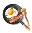 fried eggs with bacon strips and parsley vector image