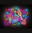 glow signboard with piece cake champagne and vector image vector image