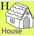 H letter alphabet Coloring book house vector image vector image