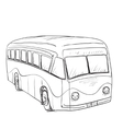 Hand drawn cartoon bus vector image