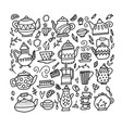 hand drawn teapot and cup collection doodle tea vector image vector image