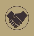 handshake icon vintage style vector image vector image