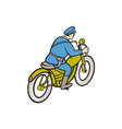 Highway Patrol Policeman Riding Motorbike Cartoon vector image