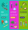 kid playground elements 3d banner vecrtical set vector image vector image