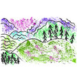 landscape drawing with chalk on white background vector image vector image