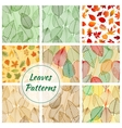Leaves seamless patterns vector image vector image