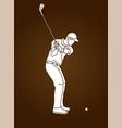 man swinging golf golf players action cartoon vector image vector image