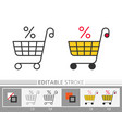 market trolley percent clearance sale linear icon vector image vector image