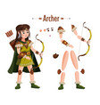 medieval archer woman in armor with bow in hand vector image vector image
