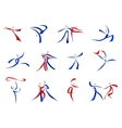 Modern dancers icons and symbols vector image vector image