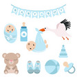 newborn baby icons set newborn baby icons set vector image vector image