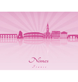 Nimes skyline in purple radiant orchid vector image vector image