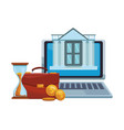 online bank from laptop vector image vector image