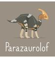 Parazaurolof dinosaur colorful card vector image