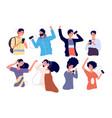 people listen music with earphones happy young vector image vector image