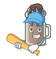 playing baseball milkshake character cartoon style vector image vector image