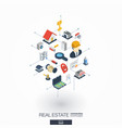 real estate integrated 3d web icons digital vector image vector image