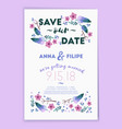 save date wedding invitation card design vector image